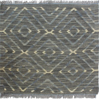 Ackworth Kilim Hand Woven Premium Wool Gray Fringe Area Rug Rug Size: Rectangle 19 x 18