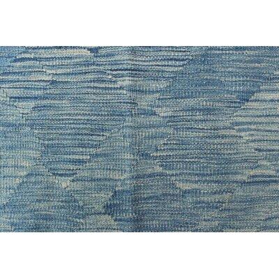 Ackworth Traditional Kilim Hand Woven Wool Rectangle Blue Area Rug