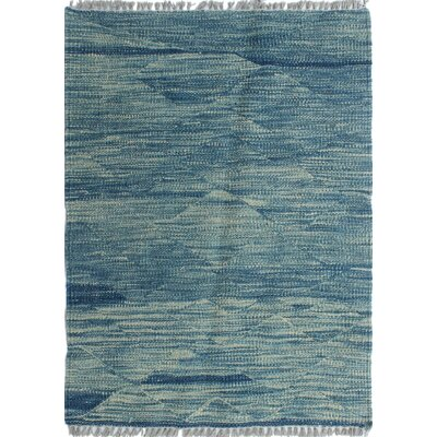 Ackworth Traditional Kilim Hand Woven 100% Wool Rectangle Blue Area Rug