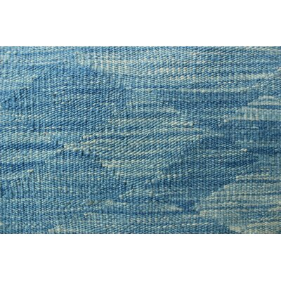 Ackworth Kilim Hand Woven Wool Blue Area Rug