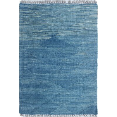 Ackworth Kilim Hand Knotted Wool Blue Area Rug