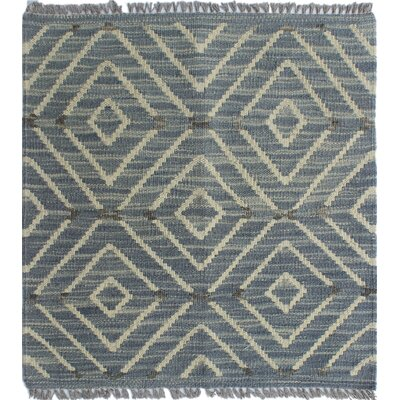 Ackworth Traditional Kilim Hand Woven Wool Gray Geometric Area Rug