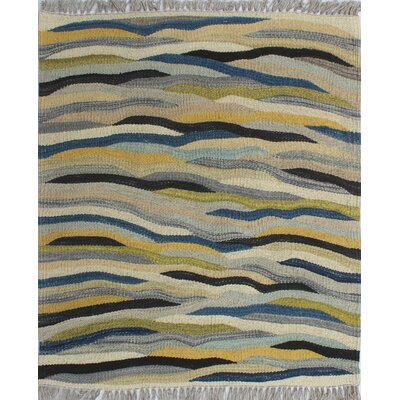 Troy Kilim Hand Woven 100% Wool Gray Area Rug Rug Size: Rectangle 110 x 23