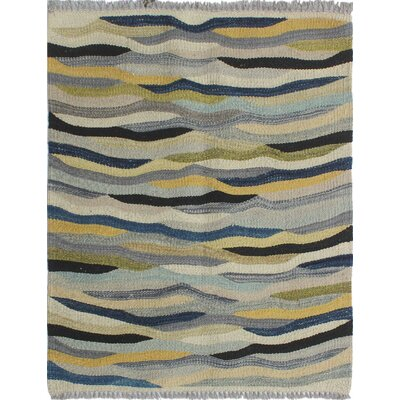 Troy Kilim Hand Woven 100% Wool Gray Area Rug Rug Size: Rectangle 19 x 23