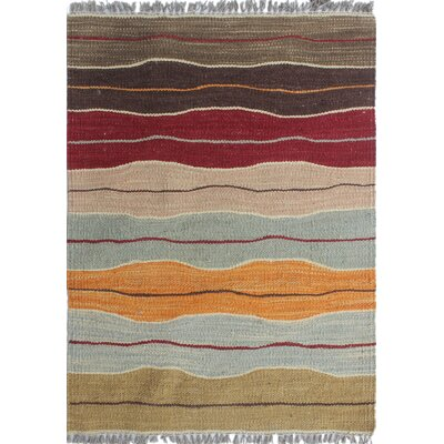 Troy Kilim Hand Woven Wool Brown Area Rug Rug Size: Rectangle 18 x 23