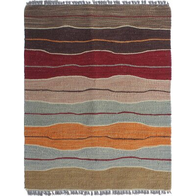 Troy Kilim Hand Woven Wool Brown Area Rug Rug Size: Rectangle 19 x 23