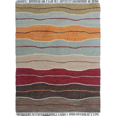 Troy Traditional Kilim Hand Woven 100% Wool Brown Area Rug Rug Size: Rectangle 18 x 23
