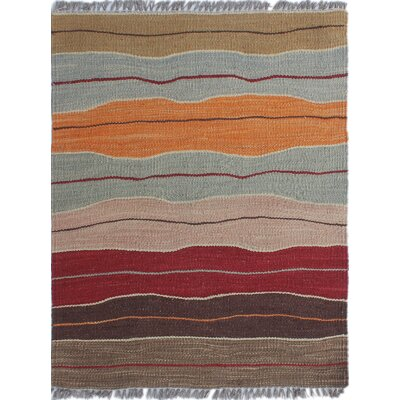 Troy Traditional Kilim Hand Woven 100% Wool Brown Area Rug Rug Size: Rectangle 110 x 25