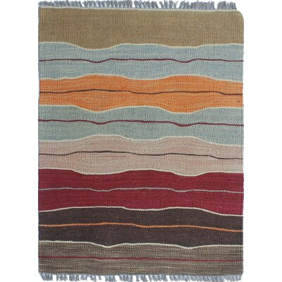 Troy Kilim Hand Woven 100% Wool Brown Area Rug