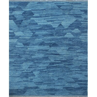 Ackworth Kilim Hand Woven 100% Wool Blue Area Rug Rug Size: Rectangle 85 x 103