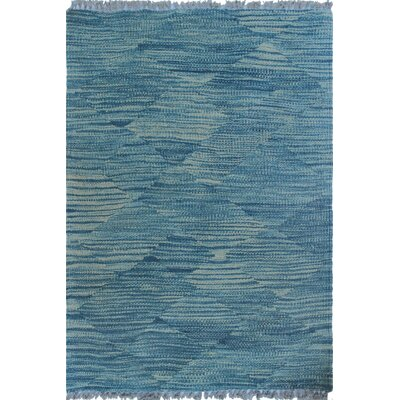 Ackworth Traditional Kilim Hand Woven Wool Blue Area Rug Rug Size: Rectangle 17 x 24