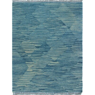 Ackworth Traditional Kilim Hand Woven Wool Blue Area Rug Rug Size: Rectangle 19 x 24