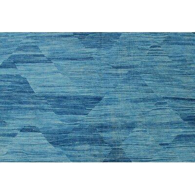 Ackworth Kilim Hand Woven 100% Wool Rectangle Blue Area Rug