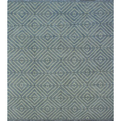Ackworth Kilim Hand Woven Wool Rectangle Blue Area Rug
