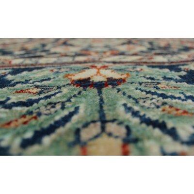 Longoria Oriental Chobi Knotted Wool Blue Area Rug