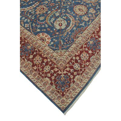 Turner Chobi Knotted Wool Rectangle Blue Area Rug