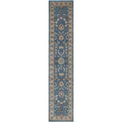 Longoria Chobi Knotted 100% Wool Blue Area Rug