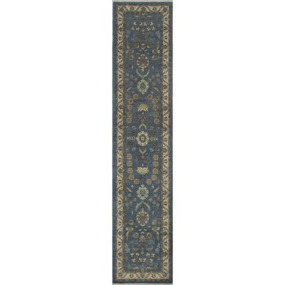 Longoria Chobi Knotted 100% Wool Gray Area Rug