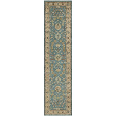 Longoria Traditional Chobi Knotted Wool Blue Area Rug