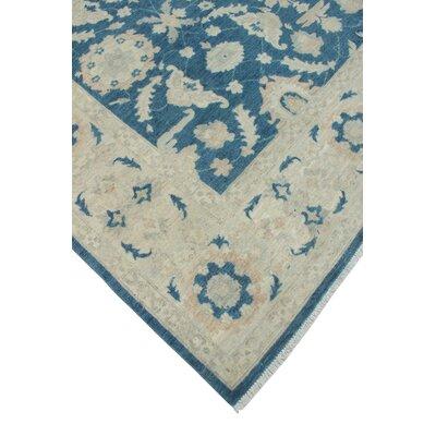 Longoria Chobi Knotted Rectangle Wool Blue Area Rug
