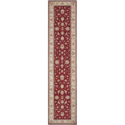 Longoria Chobi Burgundy Knotted Wool Area Rug