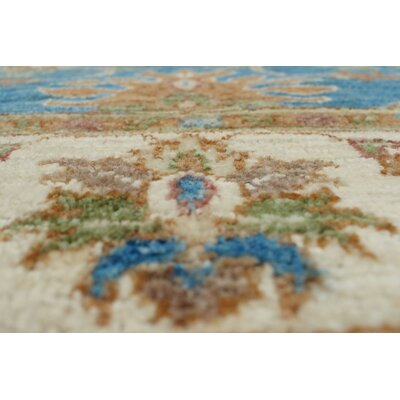 Longoria Chobi Knotted 100% Wool Rectangle Blue Area Rug