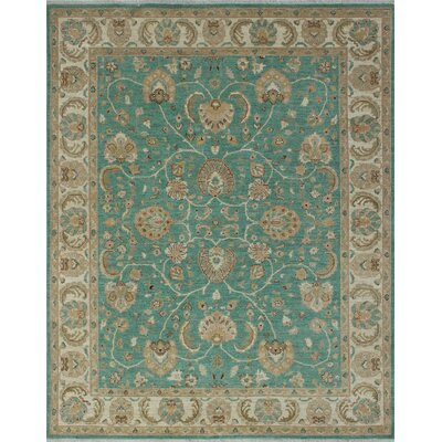 Longoria Chobi Knotted Wool Green Area Rug
