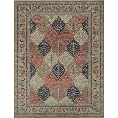 Longoria Oriental Chobi Knotted Wool Brown Area Rug