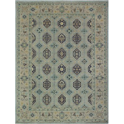 Longoria Oriental Chobi Knotted 100% Wool Gray Area Rug