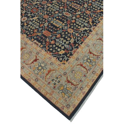 Turner Traditional Chobi Knotted Wool Rectangle Blue Area Rug