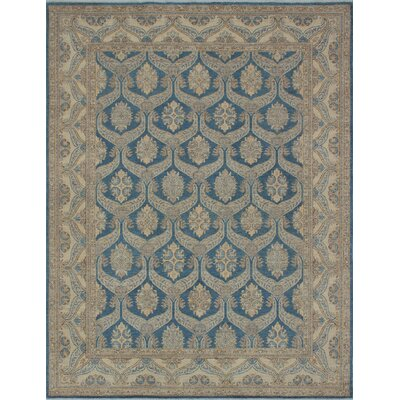 Longoria Chobi Knotted Wool Blue Area Rug