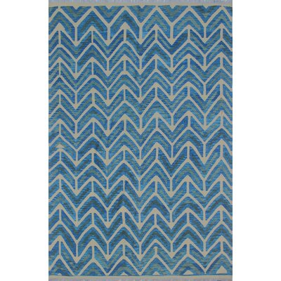 Galen Kilim Hand Woven Wool Blue Area Rug