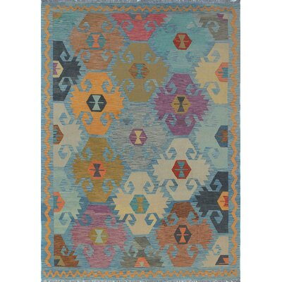 Vallejo Hand Woven Wool Blue/Pink Area Rug
