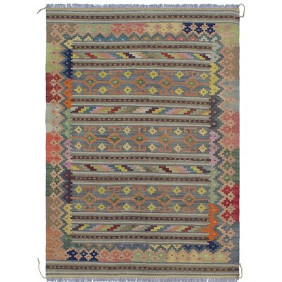 Rucker Kilim Hand Woven Wool Gray/Ivory Area Rug