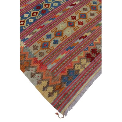 Vallejo Traditional Kilim Hand Woven Wool Beige/Brown Fringe Area Rug