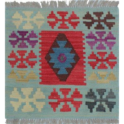 Rucker Kilim Hand Woven Wool Blue Southwestern Area Rug