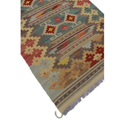 Rucker Kilim Hand Woven Wool Beige/Gray Southwestern Area Rug