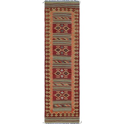 Rucker Kilim Hand Woven Wool Rectangle Beige/Brown Southwestern Area Rug
