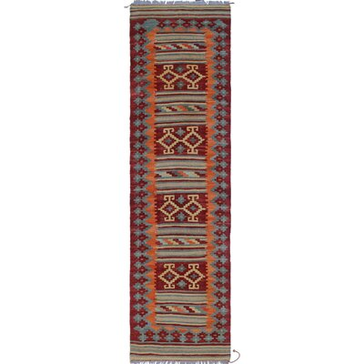 Rucker Kilim Hand Woven Wool Red Southwestern Area Rug