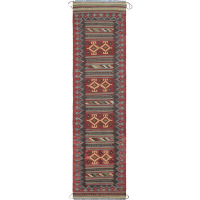 Rucker Traditional Kilim Hand Woven Wool Red Fringe Area Rug