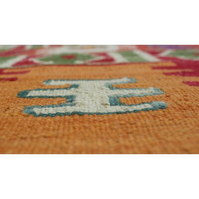 Rucker Kilim Hand Knotted Wool Green Area Rug