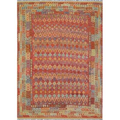 Vallejo Kilim Hand Woven Wool Beige/Red Southwestern Fringe Area Rug