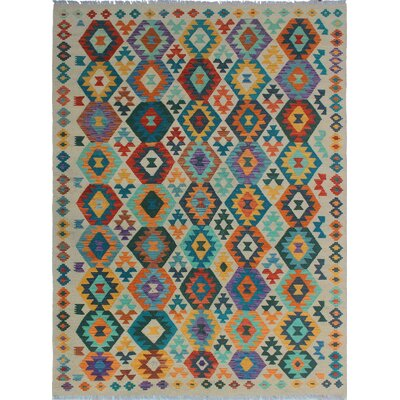 Rucker Kilim Hand Woven 100% Wool Rectangle Beige Southwestern Fringe Area Rug
