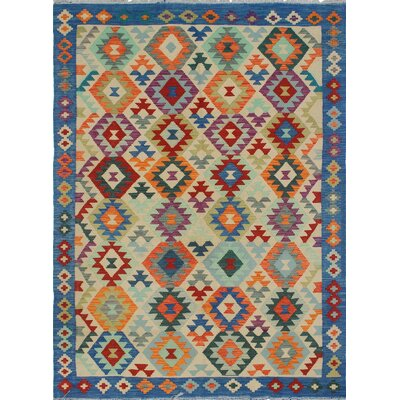 Vallejo Traditional Kilim Hand Woven Wool Rectangle Beige Area Rug