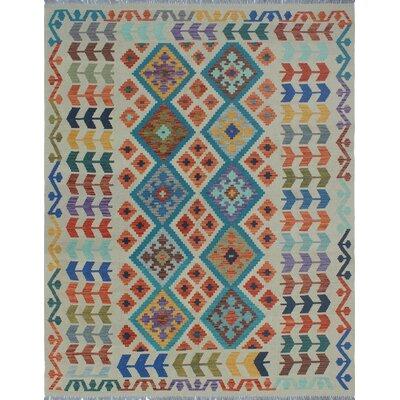 Vallejo Kilim Hand Woven Wool Beige/Blue Fringe Area Rug