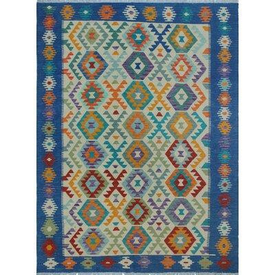 Vallejo Traditional Kilim Hand Woven 100% Wool Beige Southwestern Fringe Area Rug