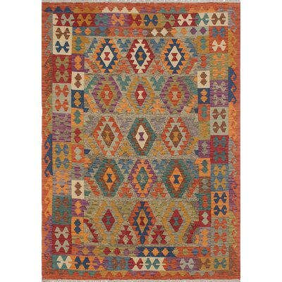 Rucker Kilim Hand Woven Wool Orange Southwestern Area Rug