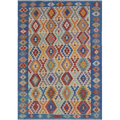 Vallejo Kilim Hand Woven Wool Rectangle Beige/Blue Area Rug