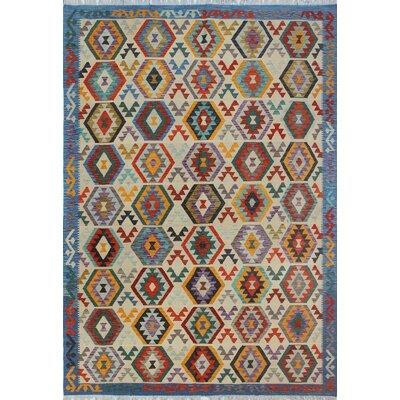 Vallejo Kilim Hand Woven Wool Beige/Blue Southwestern Area Rug