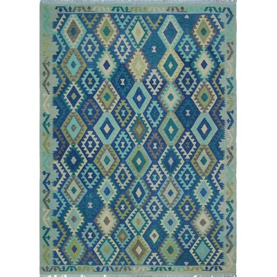 Vallejo Kilim Hand Woven Wool Rectangle Green Area Rug